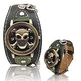 HOUSEHOLD Mechanische Automatik Edelstahl Waterproo Schädel-Kopf-Armbanduhr PU-Lederband Quarz-Uhr for Jungen Mann Gentleman HBDZ (SKU : S-wa-0613a)