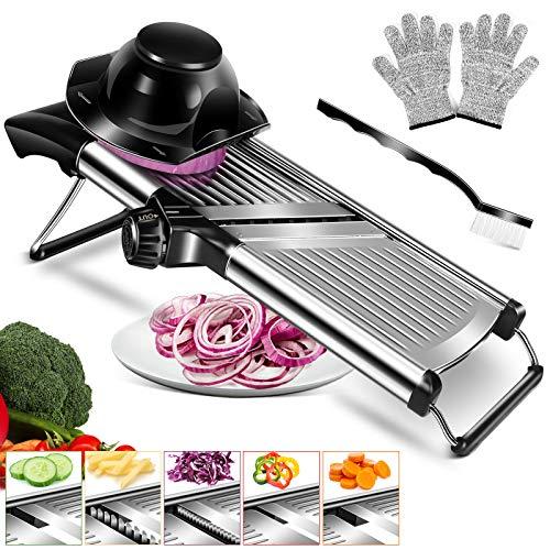 Affettatrice regolabile per mandolina, in acciaio inox, patate, cipolle, frutta e verdura, affettatrice professionale per cucina con guanti a prova di taglio e spazzola per la pulizia