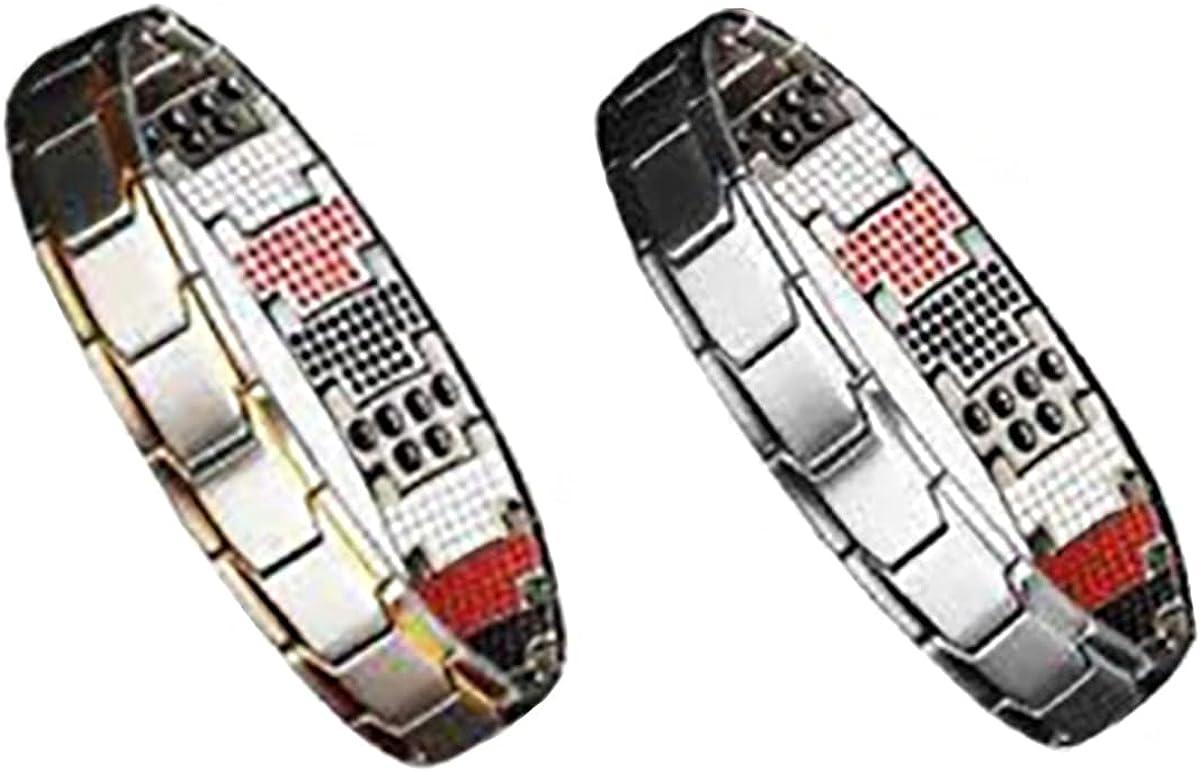 ZJTB Magnetic Therapy Fit Plus Bracelet, Men's Double Magnet Wide Titanium Magnetic Therapy, Adjustable Men's Bio Energy Bracelet, Anti-Fatigue Magnetic Therapy Fit Plus Bracelet
