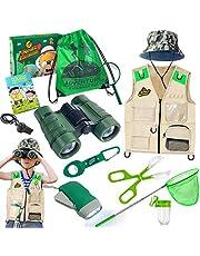 Juego de investigador y bug Catcher, con chaleco, prismáticos, lupa, red de mariposas, sombrero y mochila, set de regalo para niños de 3 a 10 años