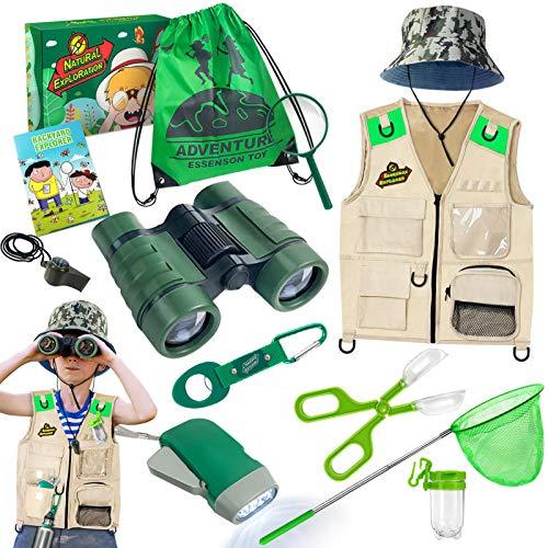 Juego de investigador y atrapabichos, con chaleco, prismáticos, lupa, red de mariposas, sombrero y mochila, set de regalo para niños de 3 a 10 años