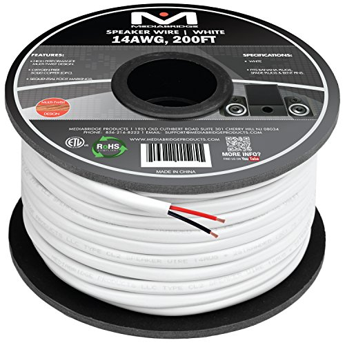 Mediabridge 14AWG 2-Conductor Speaker Wire (200 Feet, White) - 99.9% Oxygen Free Copper – ETL Listed