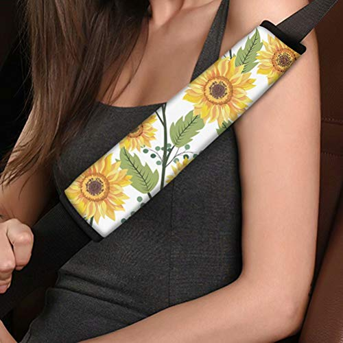 AFPANQZ Cute Sunflowers Automotive Seat Belt Covers Pads 2 Piece Car Accessories Safety Seatbelt Cushion Pillow for Adults Kids Youth Universal Fit Backpack Straps Pads Comfortable Driving