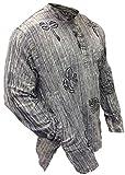 Shopoholic Fashion unisex stonewashed gestreift Leicht Hippy Opa Hemd - L. graue Mischung, XX-Large