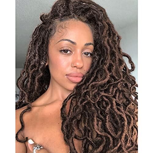 "6 Packs Goddess Faux Locs Crochet Hair 18inch Beach Locs Crochet Braids Afro Dreadlocks Ombre Synthetic Braids New Hairstyle (4/30, 18"")"