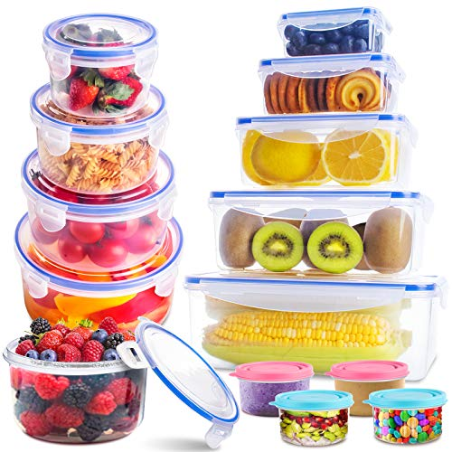 Food Storage Containers Set with Lids(26 Pack), Kitchen Food Organizer Containers - Snacks, Sandwich & Bento Box, Leak Proof BPA Free Plastic Containers with Labels & Marker, Freezer & Microwave Safe