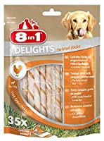 delights twisted sticks, the patented chew; rawhide with wrapped chicken meat yummy meat inside rawhide keeps your dog busy and ensures intensive chewing yummy meat inside rawhide keeps your dog busy and ensures intensive chewing for dental care only...