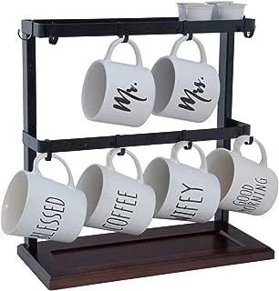 Comfyhouse Mug Cup Holder Display Rack, Kitchen Storage Mug Rack with Top Tray, Holds Up to 8 Mugs