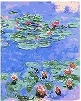 番号キットによるDiy油絵番号キットによるロータスフラワーペイントカラフルなキャンバス絵画壁アート絵の描画-40Cmx 50Cm(木製フレームなし)
