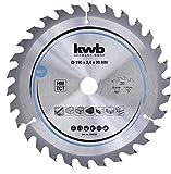 kwb 586757 - Lama per sega circolare per legno e legno duro, 190 x 20 mm, taglio pulito, numero medio, 30 denti Z-30, lama CleanCut 190 x 20