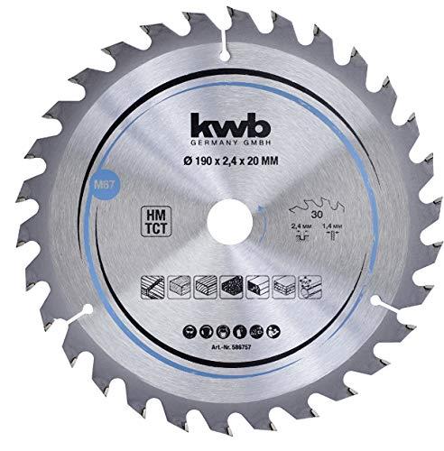 kwb 586757 - Hoja de sierra circular para madera y madera dura (190 x 20 mm, corte limpio, 30 dientes)
