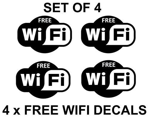 4 x Gratis Wifi Zeichen Symbole Aufkleber Abziehbilder Internet Café Bar Verein Büro Geschäft (15cm x 10cm) SCHWARZ
