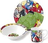 Marvel Avengers 3 Piece Childrens Ceramic Table Dinnerware Set - Plate Bowl and Mug