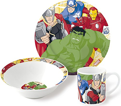 Boyztoys Marvel Avengers per Bambini, 3 Pezzi, Set da Servizio, in Ceramica, Composto da Piatto, Ciotola e Tazza