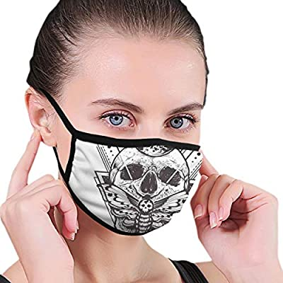 Comfortable Windproof mask,Sacred Geometry Skull Dead Head Alchemy Hipster Tattoo Style Art,Printed Facial decorations for Women and Men