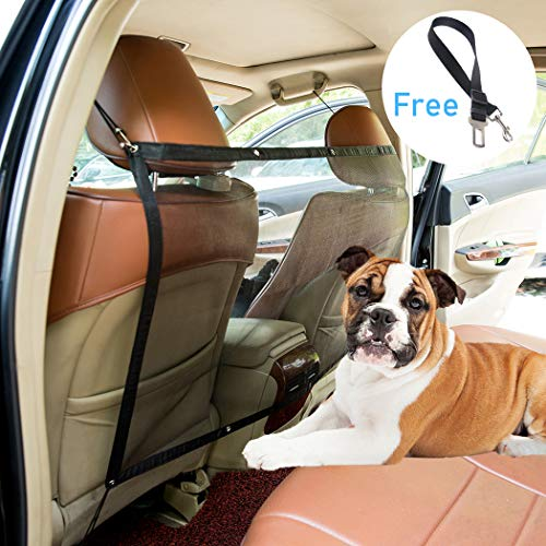 Yunzhu Car Pet Barrier Dog Vehicle Backseat Mesh,Universal Elastic Safety Car Seat Net for SUV Vans Trucks,Disturb Stopper from Children and Pets,Include Pet Seat Safety Belts