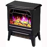 LMDH Calentador Chimenea Estufa eléctrica portátil con termostato for Office y Home 3D Flame & QuietFan Negro