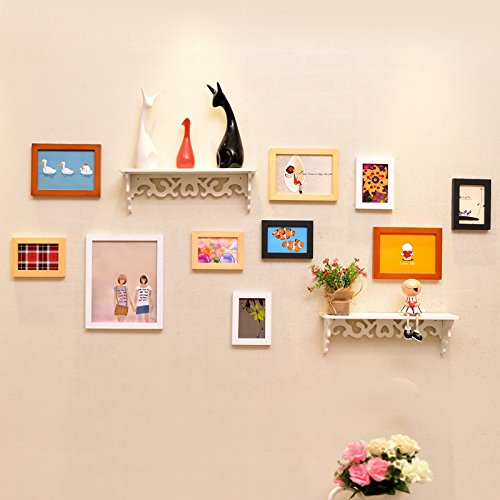 Bilderrahmen*Foto wand Massivholz Rahmenwand kreative Eingebauter Regalwand aus dem Mittelmeerraum Wohnzimmer Restaurant, Schwarze und Weiße original Hu + Seele + Integrierte Regal