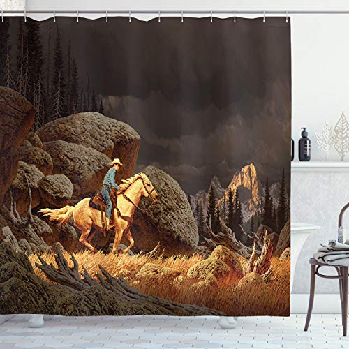 "Ambesonne Western Shower Curtain, Rock Mountain Landscape with Cowboy Riding Horse NorthmericStyle, Cloth Fabric Bathroom Decor Set with Hooks, 84"" Long Extra, Earth Yellow"