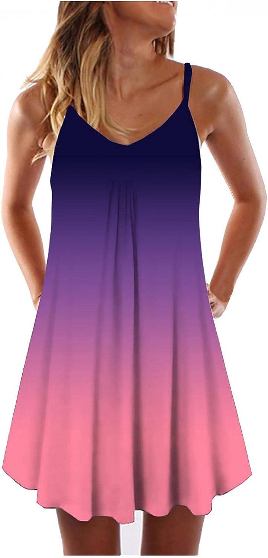 KYLEON Mini Dress for Women, Women's Boho Sleeveless Camisole Summer Casual Vintage Beach Party Short Tunic Sundress