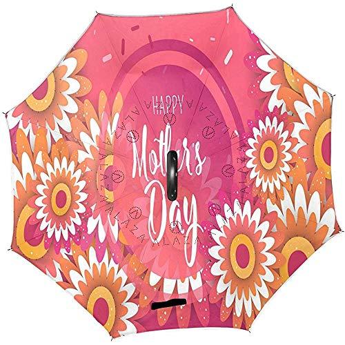 Día de la Madre Girasoles Paraguas inverso Regalos para mamá Paraguas invertidos Florales Paraguas Recto Anti-UV