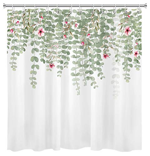 HVEST Green Leaves and Flowers Shower Curtain Eucalyptus Shower Curtain Floral Botanical Plants Shower Curtain Watercolor Leaf Polyester Fabric Waterproof Bathroom Curtain, 72W x 72H Inch