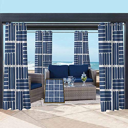 Indigo Home Fashions Curtain Voile Drapes for Lawn Corridor Terrace Garden Modern Stripes in Squares Shape Geometrical Minimalist Design Artwork Print Navy Blue and White 76W x 108L Inch