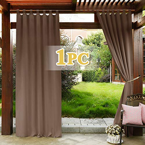PONY DANCE Blackout Curtain for Patio - Outdoor Curtain Window Drape for Sliding Glass Door Slot Top Panel Light Block & Water Proof for Gazebo/Garden, 1 Piece, W 52 - L 84-inches, Mocha