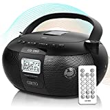 RunningSnail CD Player Portable Boombox with Bluetooth 5.0/TF Port/USB Drive, AM/FM Stereo Radio, Remote Control, AC/Battery Operated, LCD Display, Great Speaker, Headphone Jack, for Home or Outdoor