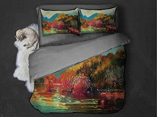 Art Comfort Luxurious Softest Premium Bed Sheet Set Surreal Autumn Forest with Faded Trees by the Lake before Mountains Fall Season Image Anti-wrinkle and anti-fading (Full) Multicolor