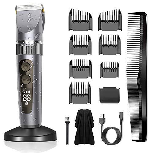 BerBizz Haarschneidemaschine für Männer Profi Haarschneider Herren Haartrimmer Bartschneider Barttrimmer Präzisionstrimmer Langhaarschneider Set mit LED-Display (GRAU)