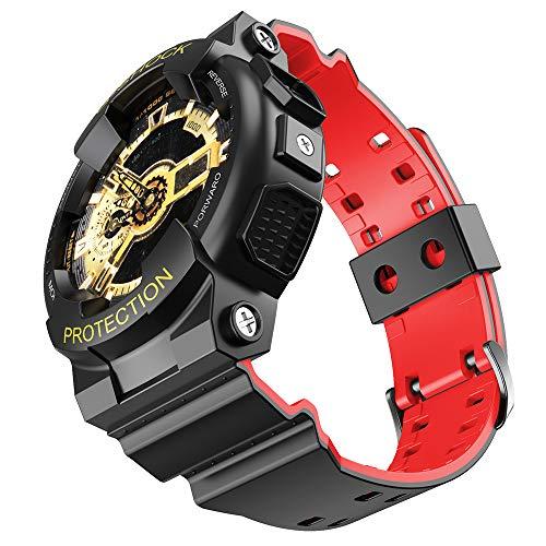 NotoCity para Casio Correa de Reloj de Repuesto para Hombre G-Shock GD120 / GA-100 / GA-110 / GA-100C(Negro-Rojo)