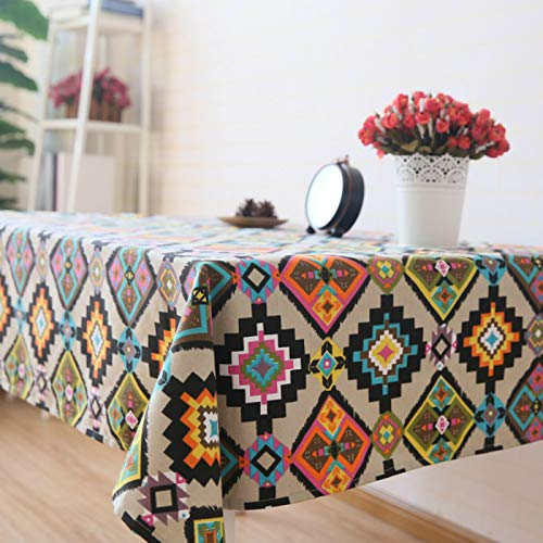 YOUYUANF tablecloth wipe clean round Rectangular rectangular polyester fabric tablecloth140x180cm