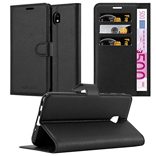 Cadorabo Funda Libro para Samsung Galaxy J7 2017 en Negro Fantasma - Cubierta Proteccíon con Cierre Magnético, Tarjetero y Función de Suporte - Etui Case Cover Carcasa