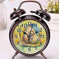ハッピーカタツムリエコハウスの黒の目覚まし時計時計家またはオフィスの装飾,最高の贈り物 アナログ おしゃれ 大音量 置き時計ベル 電池式 明かり- 直径約4インチ
