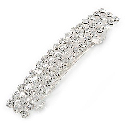 Fermacapelli classico, a forma di barretta rettangolare con cristalli trasparenti, in metallo placcato rodio, 80mm di diametro