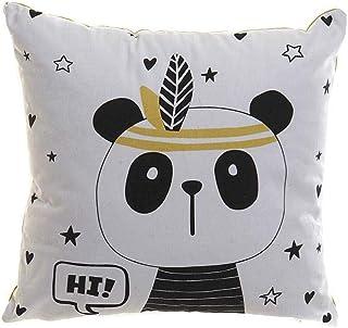 CECENS HOME COJIN Polyester Toile 40 x 40 Panda Blanc