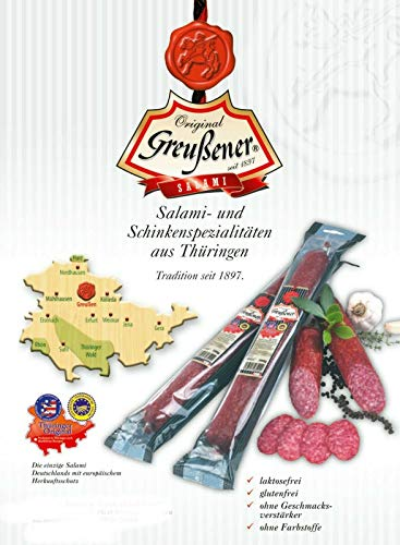 "6 Stück Original Greussener""Spitze"" Salami a 350 gramm aus Thüringen"