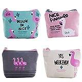 iwobi 4 Pezzi Mini Portamonete in Tela,Portamonete Flamingo Portafoglio Donna con Cerniera