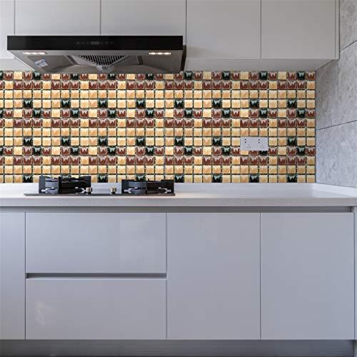 Mosaik Fliesenaufkleber Selbstklebende Klebefolie 3D Fliesen Sticker Aufkleber Klebefliesen Fliesendekor Fliesenfolie Bordüre Fliesenfolie Fliesen Mosaikfliesen Wasserdicht Küche Badezimmer (C)