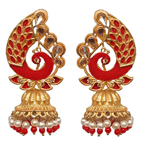 Pahal Traditional Red Painted Chandelier Gold Jhumka Earrings Peacock Indian Pearl Bollywood Bridal Jewelry for Women