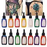Inchiostro Per Tatuaggi, 14 Pezzi/Set Strumenti Per Inchiostri Per Tatuaggi Con Inchiostro Pigmenti Di Lunga Durata Colore Naturale Resistente E Stabile Per Principianti Tatuatori Professionisti