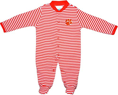 Clemson University Tigers Striped Footed Baby Romper Orange
