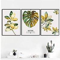緑と金色の葉キャンバス絵画北欧スカンジナビアの自然ポスターとプリント壁アートフレームなし