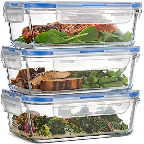 Luftdichte Glasbehälter mit Deckel - 3er-Pack, 100{58f27ab98243c1ad36c36c12f4172e32a6e7c0a0b7eac94995c0a00b16f1e6e0} auslaufsichere BPA-freie Aufbewahrungsbox mit Deckel - Gefrierschrank- und ofenfest - Glasbehälter für Lunchboxen zum Mitnehmen - 850ml