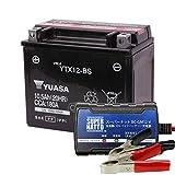 バイクバッテリー充電器+YTX12-BSセット■■台湾ユアサ(YUASA)【長寿命・保証書付】 【日本語説明書付き】