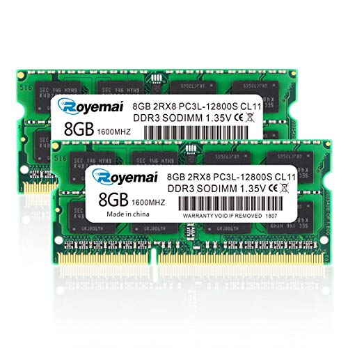 ROYEMAI DDR3 16GB Kit (2X8GB) PC3L 12800S 8GB DDR3 1600 Sodimm RAM 2Rx8 1.35V/1.5V 204pin CL11 Notebook RAM Memory