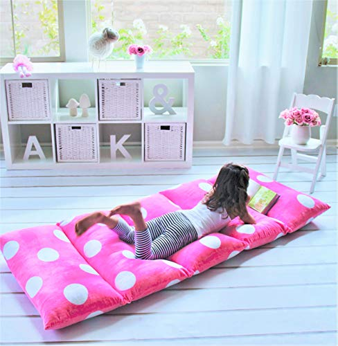 Butterfly Craze Pillow Bed Floor Lounger Cover - Perfect for Pillow Recliners & Kid Beds for Reading Playing Games or at a Sleepover or Slumber Party - Hot Pink Polka Dot, Queen