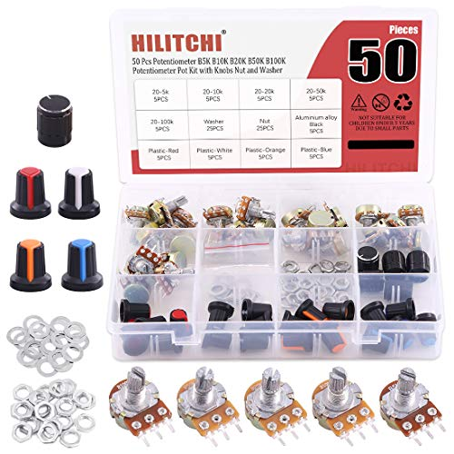 Hilitchi 25 Pcs Complete Models Potentiometer Assortment Kit with 5K-100K Ohm Knurled Shaft 3 Terminals Linear Taper Rotary Potentiometer w Knob Nuts and Washers