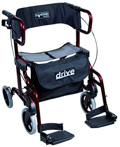 Drive 9319 Diamond Deluxe lichtgewicht rollator en transportstoel in één kleur rood